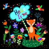 Leuke vos met bloemenachtergrond en plaat met lege ruimte voor tekst stock illustratie