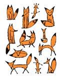 Leuke vosschets, inzameling voor uw ontwerp Stock Afbeelding