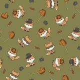 Leuke vossen in hoeden met toebehoren naadloze vectorpatroon/muur Stock Afbeeldingen