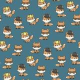 Leuke vossen in hoeden naadloos vectorpatroon/behang Stock Afbeelding