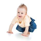 Leuke vrolijke kruipende babyjongen op wit royalty-vrije stock foto