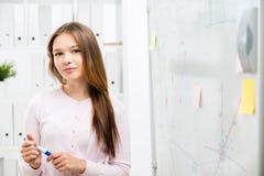 Leuke vrouw dichtbij bureau whiteboard Stock Foto's
