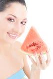 Leuke vrouw met rode watermeloen royalty-vrije stock foto's