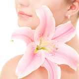 Vrouw met bloem stock afbeeldingen