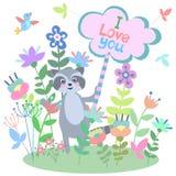 Leuke wasbeer met bloemenachtergrond en plaat met lege ruimte voor tekst stock illustratie