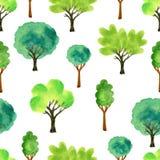 Leuke waterverfbomen Het naadloze patroon van de lente Vectorillustratie voor stof, document en andere druk en Webprojecten Stock Fotografie