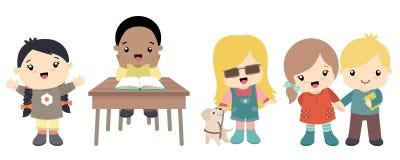 Leuke weinig geplaatste schoolkinderen royalty-vrije illustratie