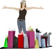 Leuke winkelende dame met zakken royalty-vrije illustratie