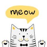 Leuke witte kat met het van letters voorzien van woordmiauw Vector illustratie stock illustratie