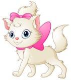 Leuke witte kat met roze boog stock illustratie