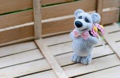 Leuke wollen teddybeer Stock Foto