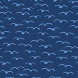 Leuke zeemeeuwen die in de zomerhemel vliegen Mariene dierlijke vogel naadloze vectorachtergrond Hand getrokken sealife tegel Ove stock illustratie