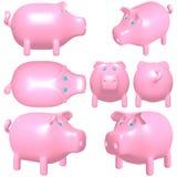 Leuke Zoete Roze Rose Pig Vector Ge?soleerdj op witte achtergrond royalty-vrije stock foto