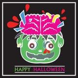 Leuke Zombie Hoofd Pop Art Flat Cartoon Stock Fotografie
