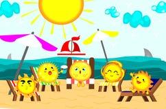 Leuke zon die bij Mooi strand, ontspannende tijd, de zomerconcept, vector zonnebaden stock illustratie
