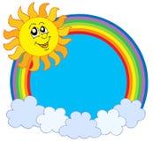 Leuke Zon en regenboog royalty-vrije illustratie