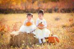 Leuke zusters die pompoenen houden zittend op strobal Stock Afbeeldingen
