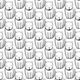 Leuke zwart-wit Katten Beeldverhaal vector naadloos patroon Stock Afbeelding
