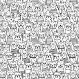 Leuke zwart-wit Katten Beeldverhaal vector naadloos patroon Stock Foto's