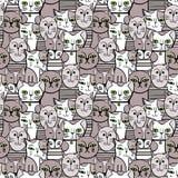 Leuke zwart-wit Katten Beeldverhaal vector naadloos patroon Royalty-vrije Stock Foto