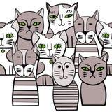 Leuke zwart-wit Katten Beeldverhaal vector naadloos patroon Royalty-vrije Stock Afbeelding