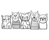 Leuke zwart-wit Kattenfamilie De vectorillustratie van het beeldverhaal Stock Foto's