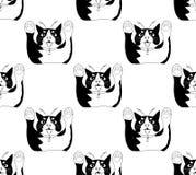 Leuke Zwart-witte Cat Attack op Witte Achtergrond Vector illustratie Royalty-vrije Stock Foto