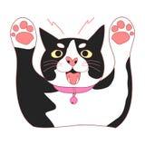 Leuke Zwart-witte Cat Attack Vector illustratie Geïsoleerdj op witte achtergrond Royalty-vrije Stock Foto's