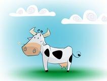 Leuke zwart-witte koe die madeliefje eten vector illustratie