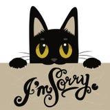 Leuke Zwarte Cat Holding een Berichtraad met Tekst I ben Sorry Handdrawn inspirational en bemoedigend citaat Royalty-vrije Stock Afbeelding