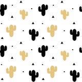 Leuke zwarte en gouden van het cactus naadloze patroon illustratie als achtergrond royalty-vrije illustratie