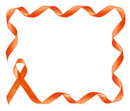 Leukemia Awareness Orange Ribbon frame. With copy space Stock Photos