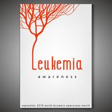 Leukemia awareness poster. World leukemia awareness month poster. Creative lettering with blood vessels isolated on white background in flat style. Acute Stock Illustration