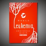 Leukemia awareness poster. World leukemia awareness month poster. Creative lettering with blood vessels on bright red background in flat style. Acute Vector Illustration