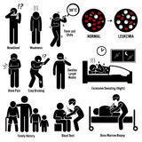Leukemia Blood Cancer Clipart. Set of illustrations for blood cancer leukemia disease which include the symptoms, causes, risk factors, and the diagnosis for the Royalty Free Stock Images