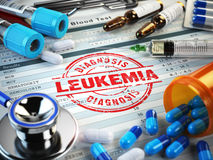 Leukemia diagnosis. Stamp, stethoscope, syringe, blood test and Royalty Free Stock Image