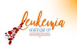 Leukemia vector icon. Leukemia logotype. Orange ribbon and blood cells in modern style isolated on light background. Leukaemia disease awareness symbol. Vector royalty free illustration