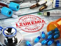 Leukemidiagnos Stämpel stetoskop, injektionsspruta, blodprov och Royaltyfri Bild