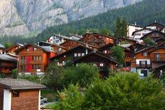 Leukerbad,阿尔卑斯村庄 免版税库存照片
