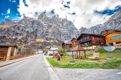 Leukerbad village with stunning Swiss Alps, Canton Valais, Switzerland Royalty Free Stock Images