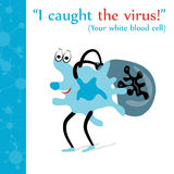Leukocyt fångade viruset Royaltyfri Illustrationer