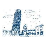 Leunende Toren van Pisa, Italië Stock Illustratie