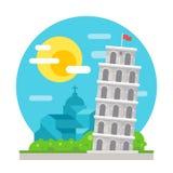Leunende toren van vlak het ontwerporiëntatiepunt van Pisa Stock Afbeeldingen