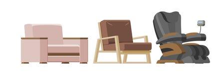 Leunstoel van het stoel ontwerpen de vector comfortabele meubilair en de zetelpoef in geleverde flat binnenlandse illustratiereek royalty-vrije illustratie