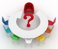Leunstoel van leider en groep multicolored bureaustoelen Royalty-vrije Stock Fotografie