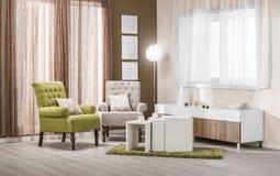 Leunstoelen in modern binnenland - woonkamer in kleur Stock Afbeeldingen