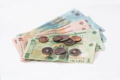 Leus dos Romanian do valor 100, 10 de diversas cédulas e 1 com valor 10 e 5 Romanian Bani de diversas moedas em um fundo branco Foto de Stock