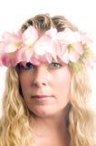 leus florais da mulher da Idade Média no cabelo Fotos de Stock