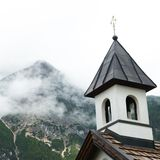 Leutasch Chapel. A chapel in Leutasch, Austria, set against the Tyrolian Alps Royalty Free Stock Photo