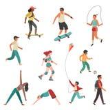 Leuteübung Der Personenstadt-Mädchenjunge, Mann und junge Frau, die lokalisierten flachen Vektor der körperlichen Tätigkeit laufe lizenzfreie abbildung